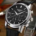GUANQIN Reloj de la Marca de Los Hombres de Moda Negro Correa Cronógrafo 30 M Impermeable de Múltiples Funciones de Negocio de Cuarzo Dial Grande Relojes de Pulsera