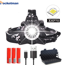 50000lm xhp70 headlight Super Bright Led Rechargeable usb Headlamp Torch xhp70 lantern 3*18650 battery for fishing camping