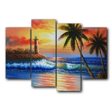 4 Panel Tropical Sunrise Seaside Palm Tree Posters And Prints Canvas Painting Wall Artwork Pictures For Living Room Home Decor
