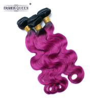 Fashion Queen Hair Peruvian Body Wave Ombre Human Hair Weave Bundles 1B Burgundy Ombre Hair Extension 3 PCS