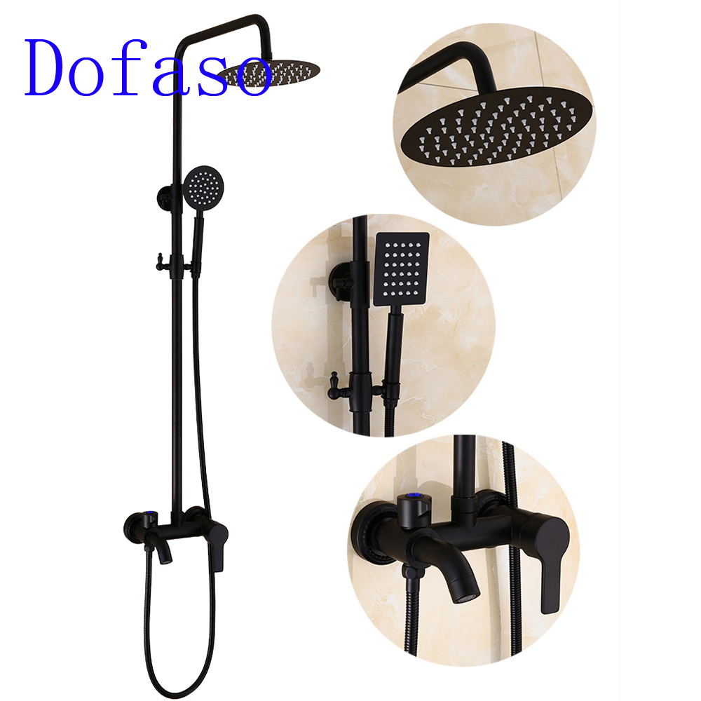 Dofaso Bathroom Bronze matte black shower Set Wall Mounted 8 Rainfall Shower Mixer Tap Faucet Valve with oil black shower hose
