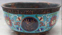 song voge gem S0023 9 Chinese Dynasty palace Purple Bronze Cloisonne Enamel Flower Offering Bowl