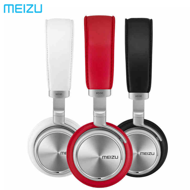 Meizu HD50 Headband HIFI Stereo Bass Music Headset Aluminium Alloy Shell Low Distortion Headphone with Mic for iPhone
