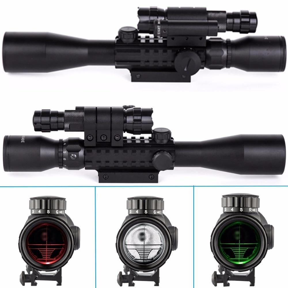 CVLIFE Riflescope 3-9X40 E R&G Mil-dot Optics Hunting Scope Red Laser&501B Torch прицел hawke panorama ev 3 9x50 10x half mil dot ir hk5161