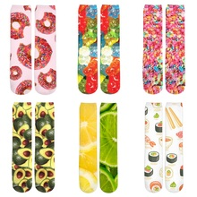 3d Printed Women/Men Casual Socks Food Fruit Lemon/Apple/Orange/Sushi/Pizza/Meat Print Socks Girl Boy Cotton Short Sock Meias цена