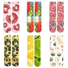 3d Printed Women/Men Casual Socks Food Fruit Lemon/Apple/Orange/Sushi/Pizza/Meat Print Girl Boy Cotton Short Sock Meias