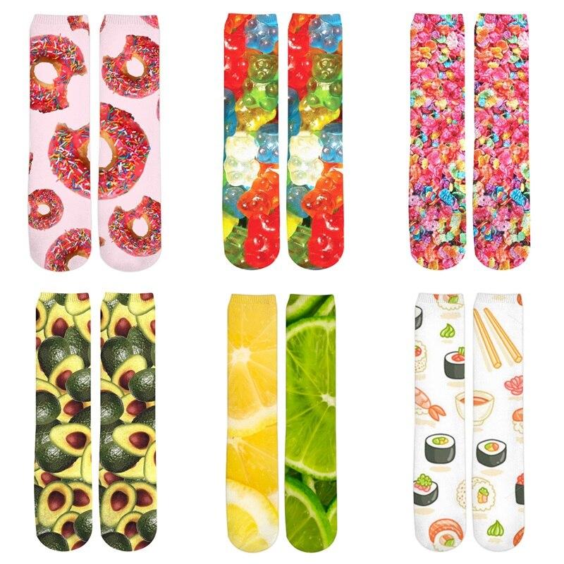 3d Printed Women/Men Casual Socks Food Fruit Lemon/Apple/Orange/Sushi/Pizza/Meat Print Socks Girl Boy Cotton Short Sock Meias ...