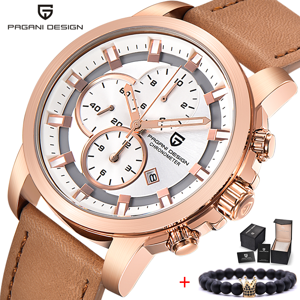 все цены на PAGANI DESIGN New Mens Watches Top Brand Luxury Date Quartz Watch Man Leather Sport Military Wrist Watch Men Waterproof Clock