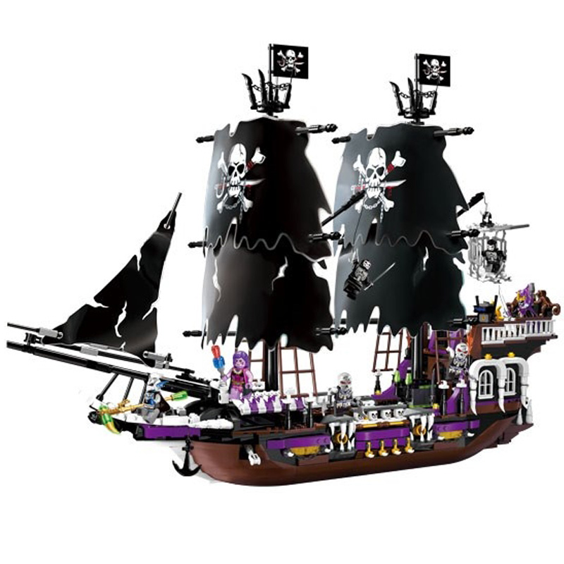 1535Pcs Hot New Pirates of the Caribbean Black general ship large model Gift Building Blocks toys Compatible With 1717pcs new 22001 pirates of the caribbean imperial flagship diy model building blocks big toys compatible with lego