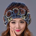 2016 New Fashion Female  Elegant Beanies Hat  Color Genuine Caps  Caps Rex Rabbit Fur Casual Hat Women Winter