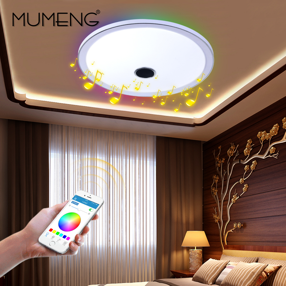 mumeng dimmbare deckenleuchte bluetooth lautsprecher led lampe 36 watt bunte party lampe rgb. Black Bedroom Furniture Sets. Home Design Ideas