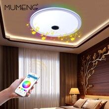 Mumeng altavoz Bluetooth Luz de Techo Dimmable LLEVÓ La Lámpara 36 W RGB Lámpara Colorida Del Partido Deco Dormitorio Accesorio de Iluminación de Música de Audio