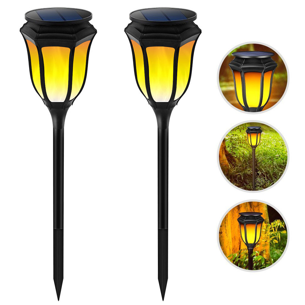 2 Pieces Solar Powered Waterproof Flickering Flames LED Torch Light Lawn Lamps Landscape Lighting for Outdoor