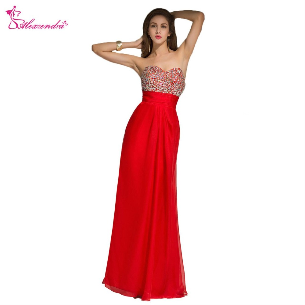 Alexzendra Red A Line Chiffon Beaded Bodice Long   Prom     Dresses   Simple Party   Dresses   Plus Size
