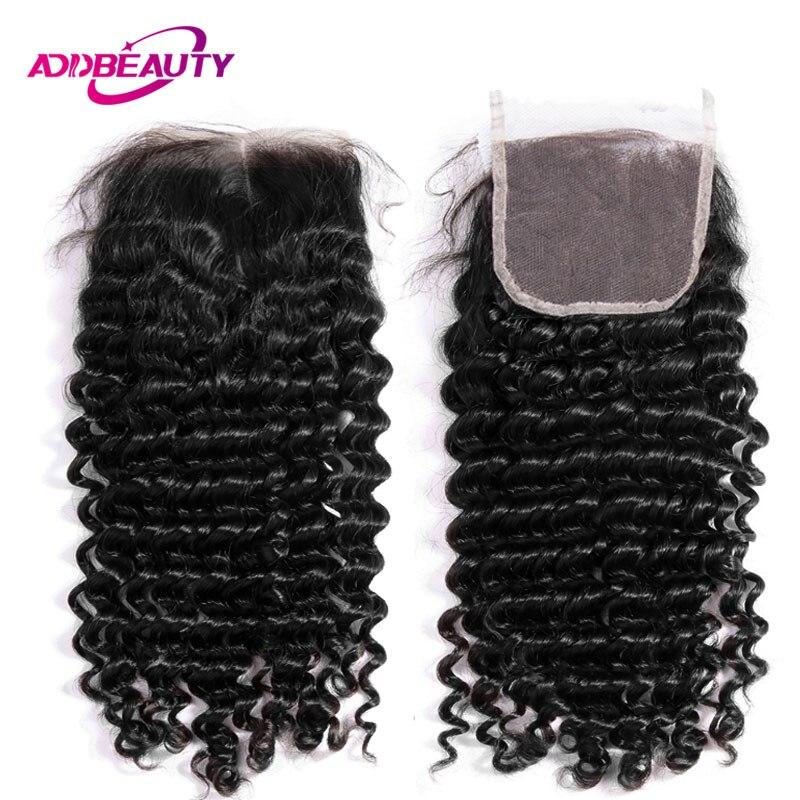 AddBeauty глубокая волна швейцарские 4x4 кружева закрытие бразильские человеческие волосы remy 130% бесплатная часть натуральный цвет для черной
