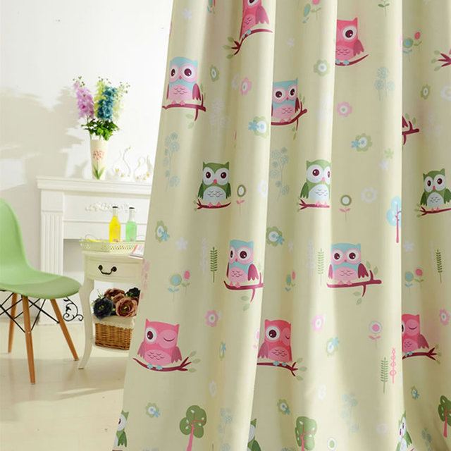 Hot Beige Kids Room Curtains For Kitchen The Bedroom Living Room Design  Baby Owl Curtains Shade