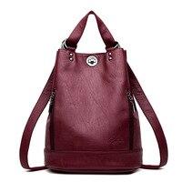 2019 New Multifunction Backpack Leather Women Bag Backpack Female Shoulder Bag Fashion Travel Back Pack Sac A Dos