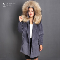 ALICEFUR New Women parka Raccon Fur Parka Real Mink Fur Jackets Nature Furs Overcoats Hooded Long Solid Warm Thick Jacket