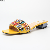 Summer Flat Sandals Women Shoes 2019 Fend Style Brand Slip On Luxury Sandals Mature Ladies black Red White Slippers Shoes woman