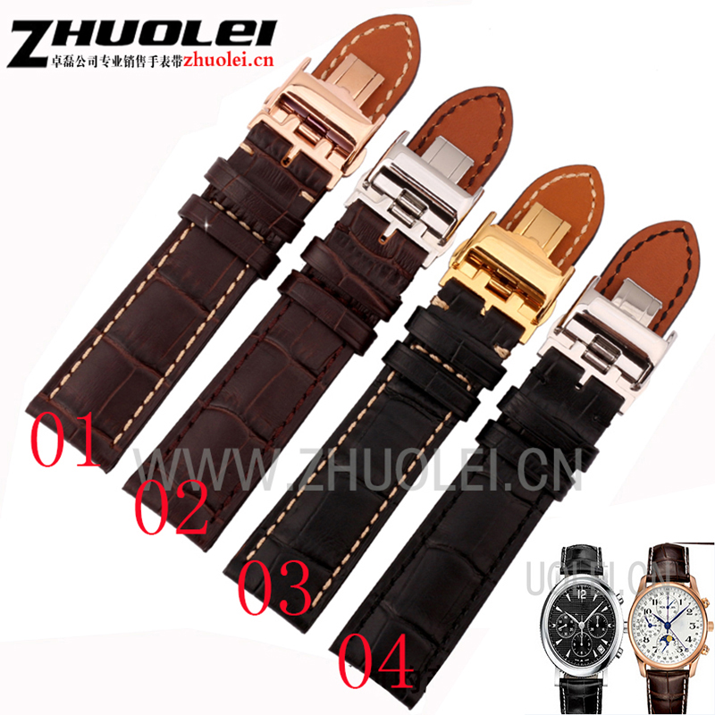18mm 19mm 20mm 21mm 22mm black brown Genuine leather watchband with deployment clasp buckle strap for L2 L4 Wrist watch bracelet watch straps with silver black deployment clasp watchband genuine leather bracelet for men women watches 20mm 21mm 22mm hot sell
