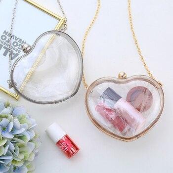 Милая Прозрачная форма сердца, прозрачные сумки на одно плечо с мультяшным рисунком, желе, женская сумка через плечо, модная сумка для девоч... >> Trends Bags Store