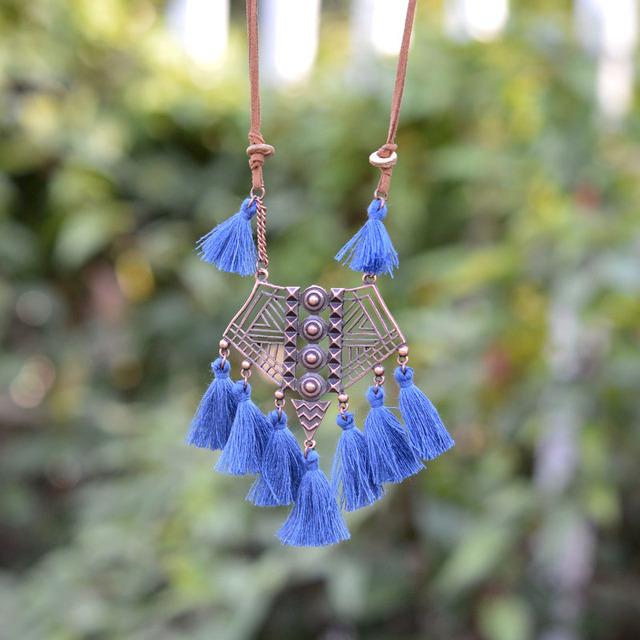 Rustic Bronze Tassel Necklace