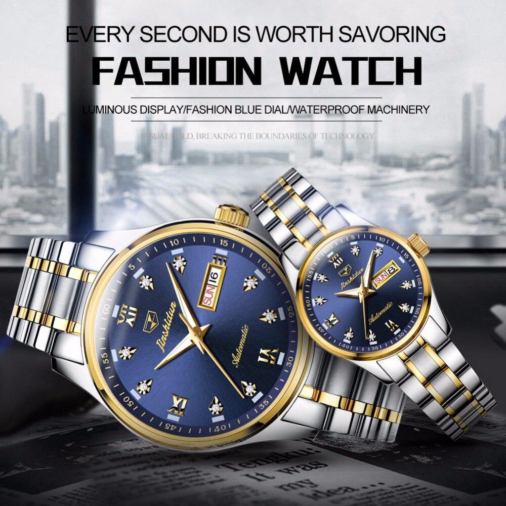 Femmes montres montre hommes JSDUN luxe Couple montres pour amoureux en acier inoxydable mécanique automatique mouvement étanche relogio