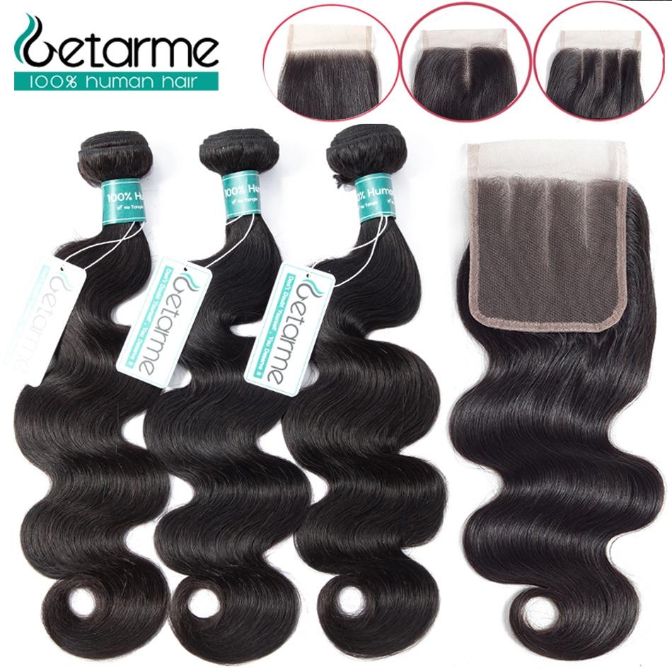 Peruvian Body Wave Human Hair 3 Bundles With Lace Closure Middle Part 4 Pcs Lot Non