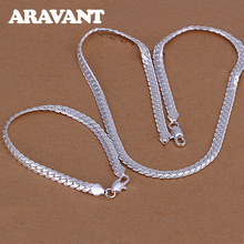 Jewelry-Sets Bracelet Necklace Silver Women for 925-Silver/sideways High-Quality