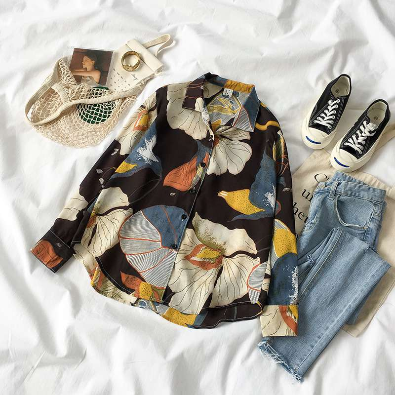 Mferlier Floral Chiffon Blouse Summer Tops Turn Down Collar Lady Shirt Floral Printed Feminina Womens Tops And Blouses