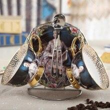 Europäischen Königs Bone China Tassen Tee Tassen Paar Kaffeetasse Mit Löffel Und Untertasse-Ölgemälde Kaiserin Josephine