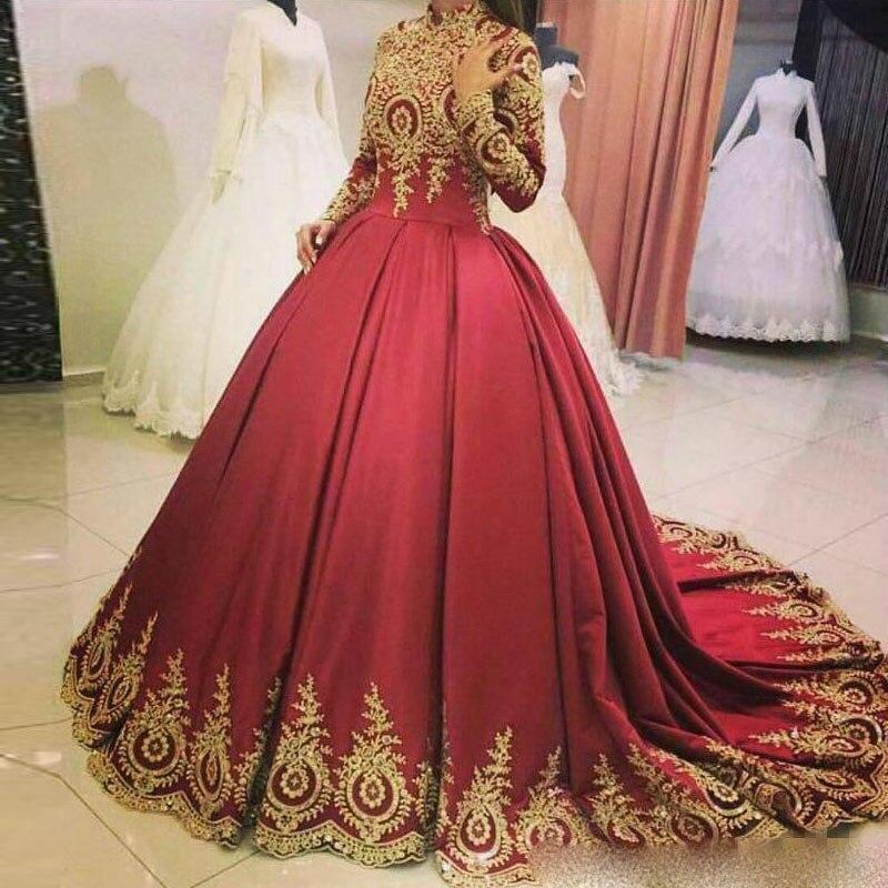 Elegant Muslim Burgundy Wedding Dress Long Sleeve High Neck Applique Plus Size Saudi Arabia Dubai African Bridal Dress Custom