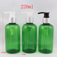 220ml X 20   green color cosmetic bottle with  aluminum screw dispenser lotion pump ,empty  shampoo lotion bottles container
