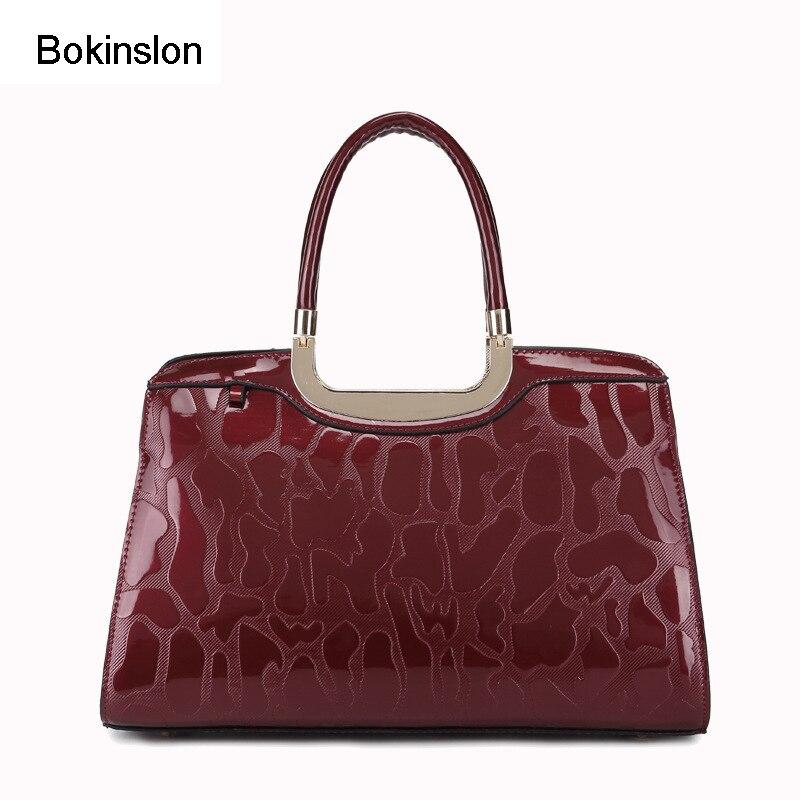 Bokinslon Woman Messenger Bags Brand Patent Leather Alligator Bag Handbags Women Casual Name Shoulder Bags For Ladies