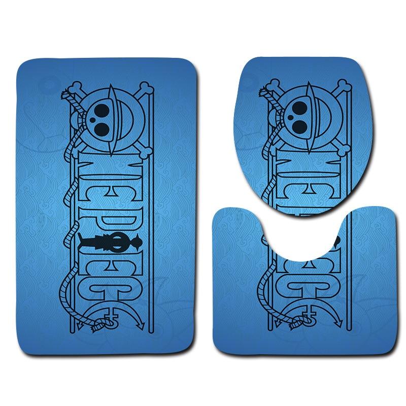 Honlaker Cartoon Skeleton Pattern Bathroom Toilet Mats and Bath Mat Toilet Cover Anti-slip Bathroom Door Mat 3Pcs/Set