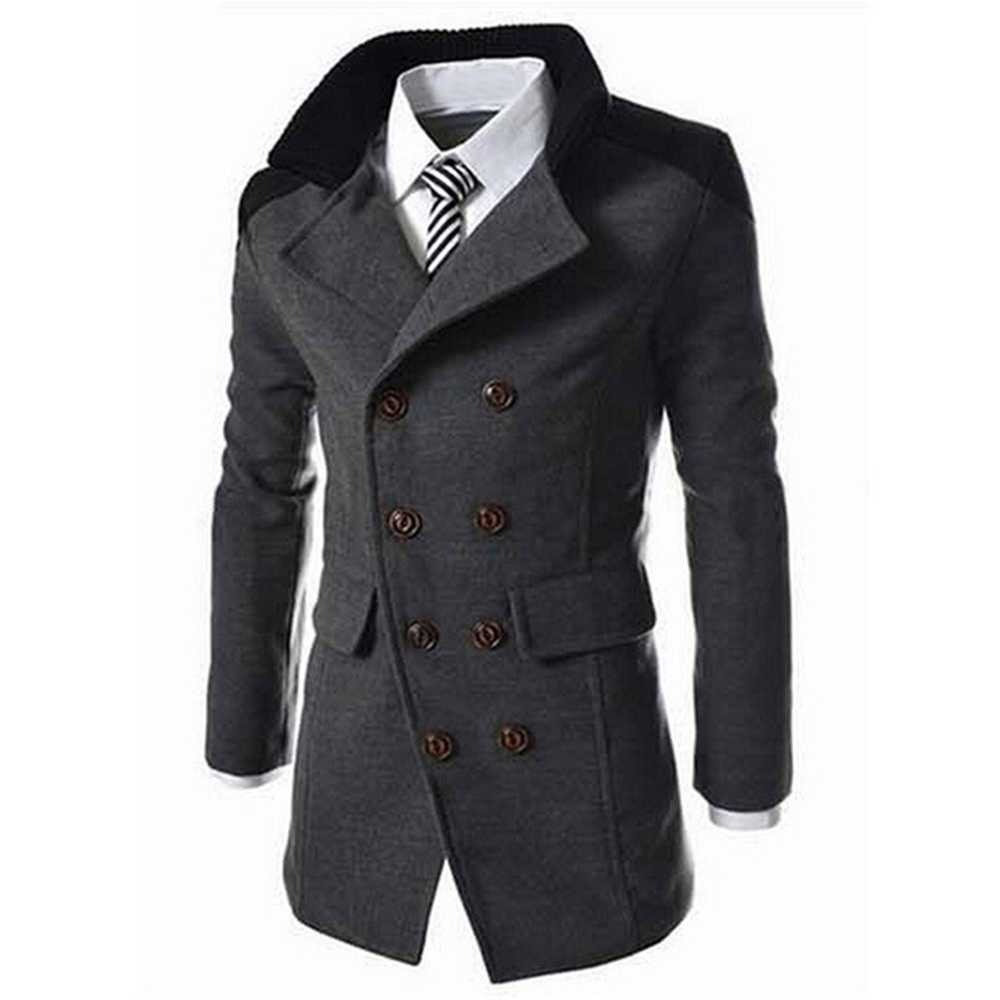 Helisopus Men Winter Warm Jackets Turn-down Collar Wool Blend Long Trench Coat Pure Color Casual Overcoats Chaqueta Hombre