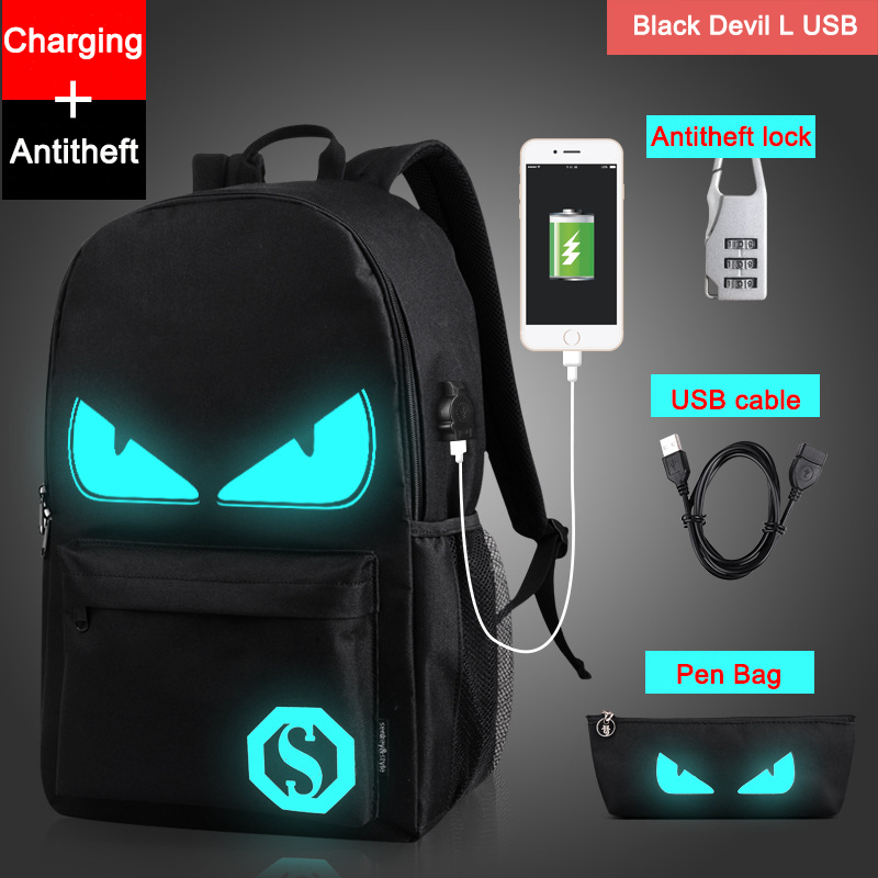 Drop Shipping Noctilucent Cartoon Teenager Rygsæk Skole Tasker til Dreng Night Lighting Tasker med gratis USB + Pen Bag + Antitheft Lock
