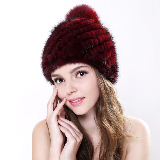 De alta Calidad de Rusia Las Mujeres de Visón Real Sombrero De Piel Con piel de Zorro Pom Pom Superior 2016 Nueva para el frío Invierno Gruesa de Punto Gorros de Piel de Visón