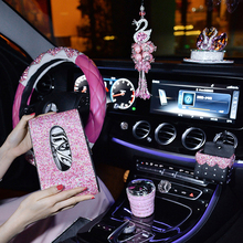 Pink Crystal Steering Wheel Covers Women Girls Car Decoration Interior Accessories