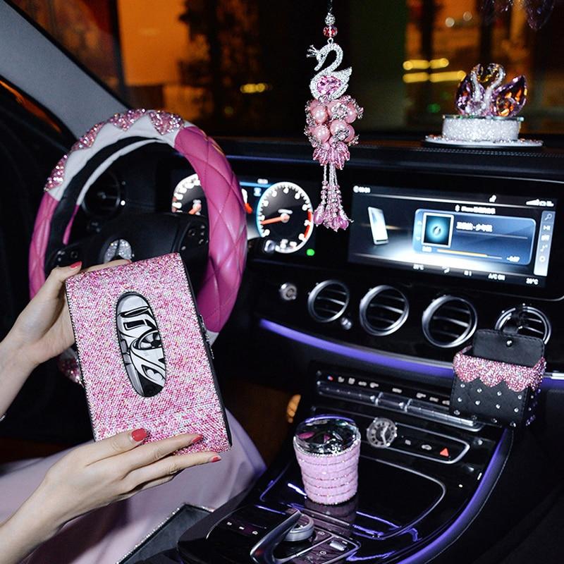 Pink Crystal Steering Wheel Covers Women Girls Car Decoration Interior Accessories Rhinestone Ashtray Crystal Diamond Tissue Box