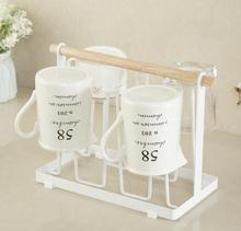 Metal Mug Coffee Cups Drying Storage Rack Holder Stand Kitche Hanging Display Drinkware Shelf Drain Hanger With 6 Hooks