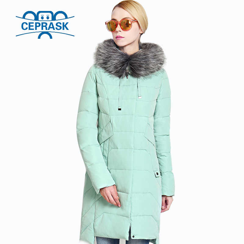 2019 New Winter Women's Jacket Plus Size Long Raccoon Fur Warm Women Coat High-quality Biological-Down Female Parkas CEPRASK