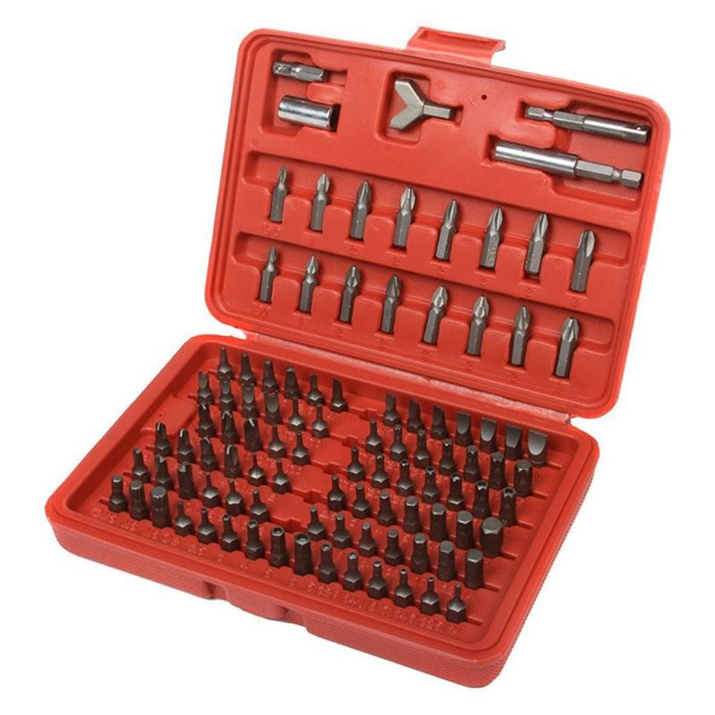 100pc Security Bit Set Torx Star Tamper Screws Hex Key Phillips Slotted Tri Wing free pp proskit sd 2310 100 pieces tamper proof bit set torq torx hex star spanner tri wing electric screwdriver magnetic tools