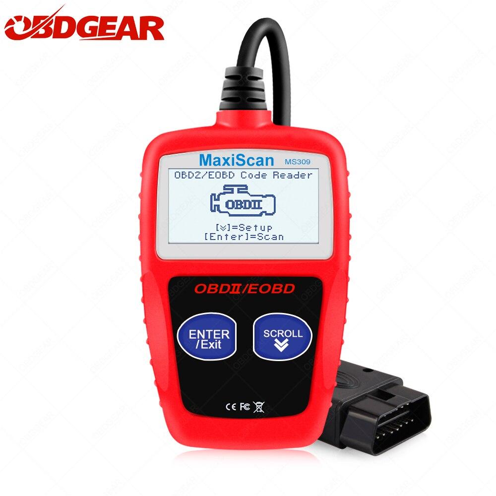 MS309 OBD2 OBDII Leitor de Código de Carro do Scanner MS 309 Leitor de Código de Carro Ferramenta de Diagnóstico Auto OBDII EOBD MS309 altamente confiável universal