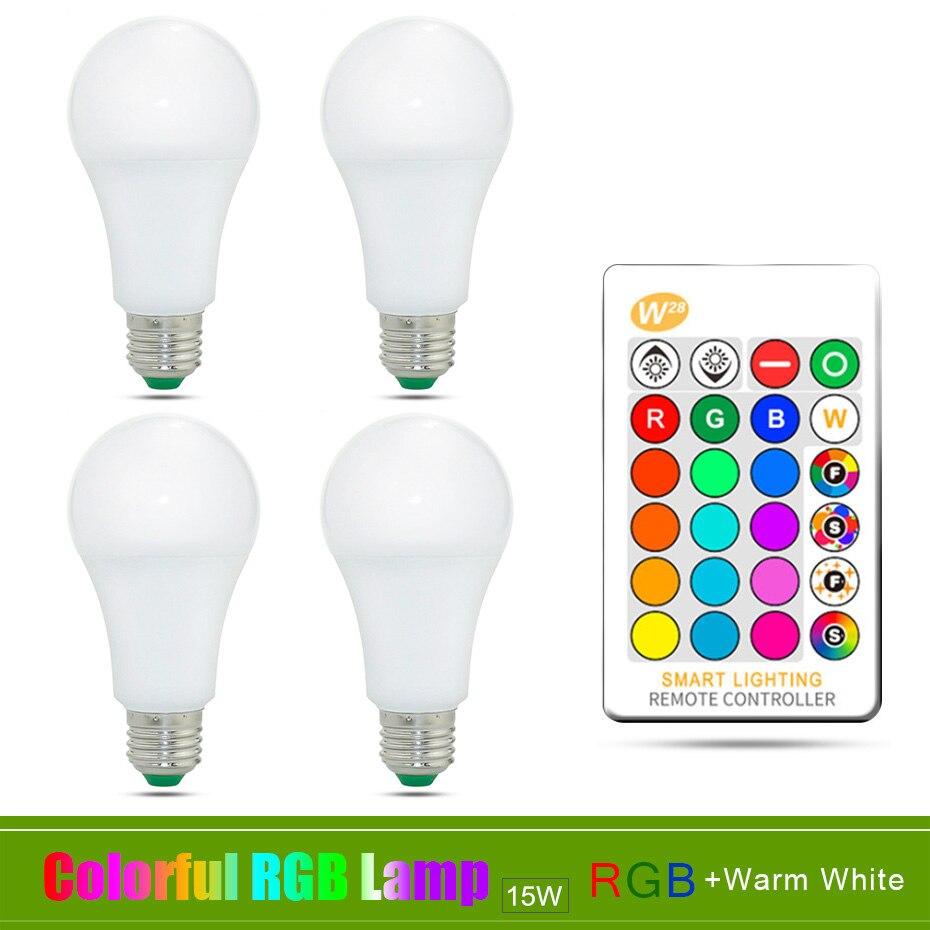 4PCS E27 RGB LED Lamp Bulb 15W RGB Home Lighting 16 Colors Changeable RGBW RGBWW Led Bombilla Ampoule Lampada IR Remote Control