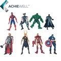 Супергерои Железный Человек Паук Бэтмен Халк Тор Локи Росомаха Капитан Америка PVC Фигурки Игрушки 8 шт./компл.