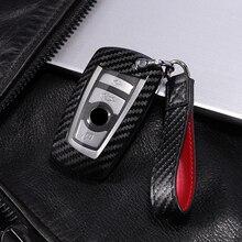 Araba styling karbon Fiber + PC anahtar kapak kabuk durumda Bmw New1 3 4 5 6 7 serisi f10 F20 F30 akıllı 3/4 düğmeleri aksesuarları anahtarlık