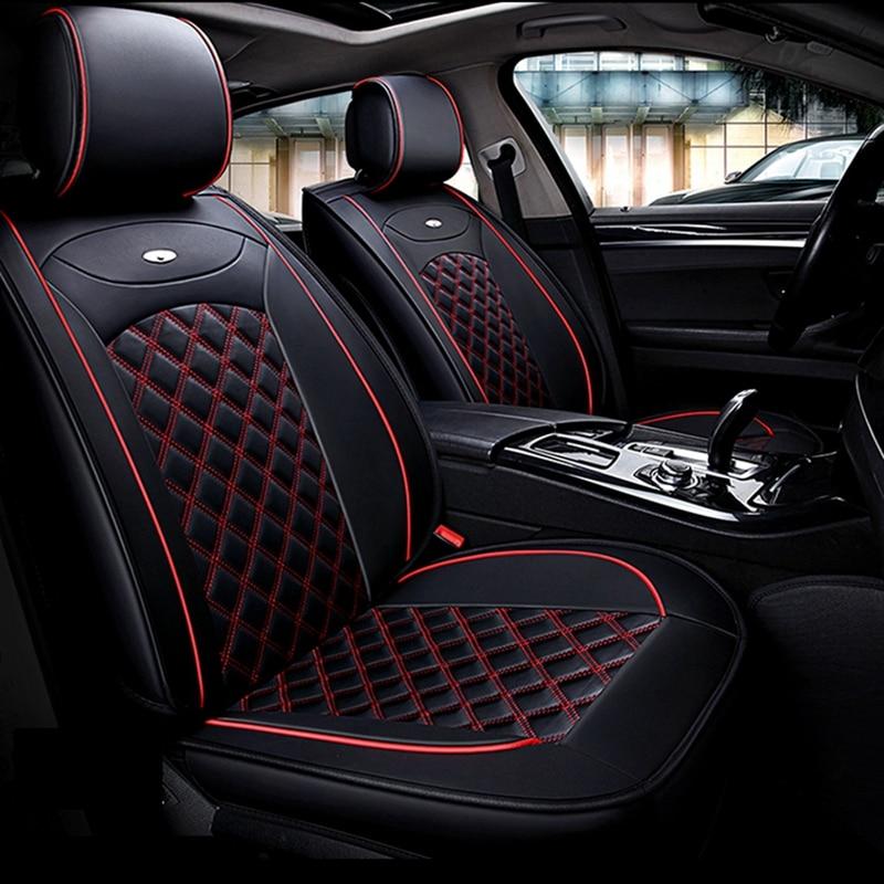 Set Completo Negro Resistente al agua frente y parte trasera cubiertas de asiento de coche para Fiat 500
