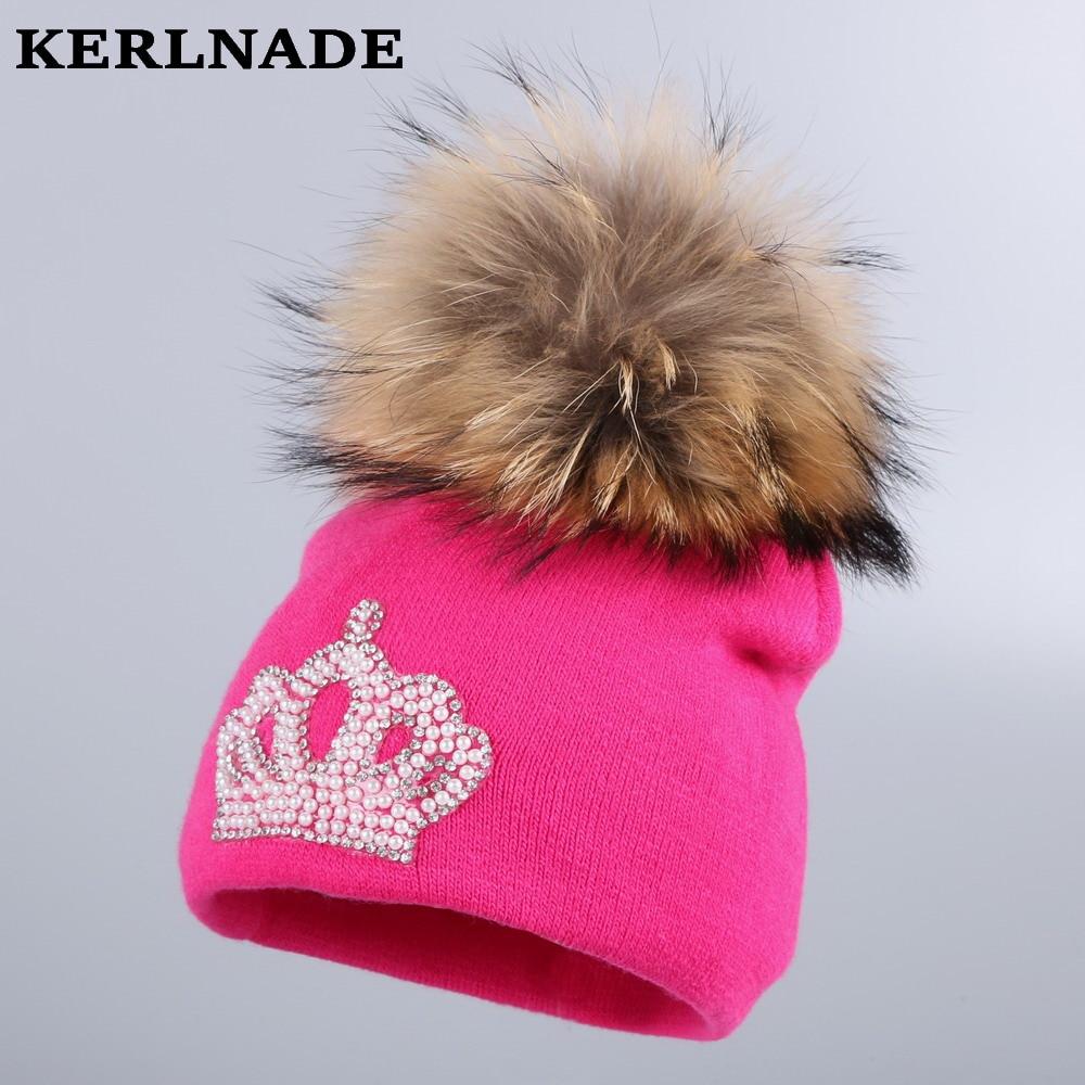 0-2 year old baby beauty crown beanie 100% cotton warmer winter hats for girl boy genuine mink pompom kids skullies brand gorros