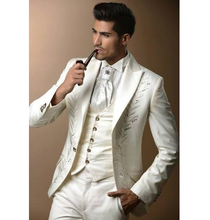 Ivory With Embroidery Groom Tuxedos Groomsman Dress Men's Wedding Prom Suits (Jacket+Pants+Vest+Tie)